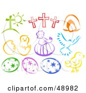 Royalty Free RF Clipart Illustration Of A Digital Collage Of Colorful Easter Items by Prawny