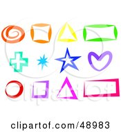 Royalty Free RF Clipart Illustration Of A Colorful Digital Collage Of Shapes by Prawny