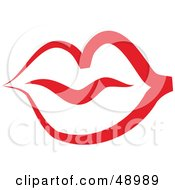Royalty Free RF Clipart Illustration Of A Red Lip Outline by Prawny