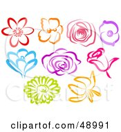 Royalty Free RF Clipart Illustration Of A Digital Collage Of Colorful Flower Blooms by Prawny