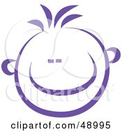 Royalty Free RF Clipart Illustration Of A Violet Happy Childs Face