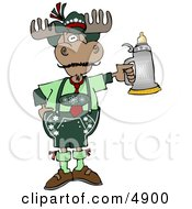 Human Like German Moose Celebrating Oktoberfest With A Beer Stein Clipart