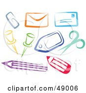 Royalty Free RF Clipart Illustration Of A Colorful Digital Collage Of Office Items