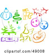 Royalty Free RF Clipart Illustration Of A Digital Collage Of Colorful Christmas Items