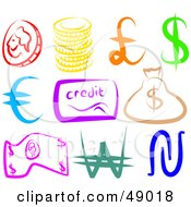 Royalty Free RF Clipart Illustration Of A Digital Collage Of Money Items by Prawny