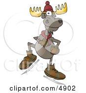 Human-Like Ice Skating Bull Moose With Antlers