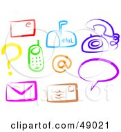 Royalty Free RF Clipart Illustration Of A Digital Collage Of Colorful Communication Items by Prawny
