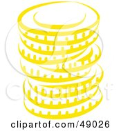 Royalty Free RF Clipart Illustration Of A Yellow Stack Of Coins