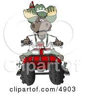 Bull Moose Riding A Recreational ATV Four Wheeler Clipart