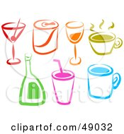 Royalty Free RF Clipart Illustration Of A Digital Collage Of Colorful Beverages