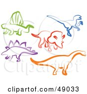Royalty Free RF Clipart Illustration Of A Digital Collage Of Colorful Dinosaurs