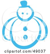 Royalty Free RF Clipart Illustration Of A Blue Outline Of A Snowman by Prawny