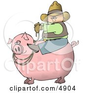 Cowboy Farmer Man Riding A Big Fat Pig