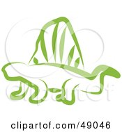 Royalty Free RF Clipart Illustration Of A Green Dimetrodon