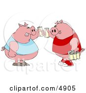 Human-Like Fat Pigs Toasting Beers Against Each Other