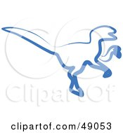 Royalty Free RF Clipart Illustration Of A Blue Raptor by Prawny