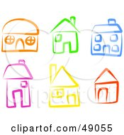 Royalty Free RF Clipart Illustration Of A Digital Collage Of Colorful Homes by Prawny