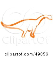 Royalty Free RF Clipart Illustration Of An Orange Apatosaurus by Prawny