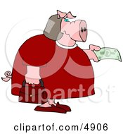 Human Like Fat Female Pig Purchasing Food With Money Clipart