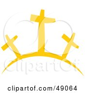 Royalty Free RF Clipart Illustration Of Crosses On A Hill by Prawny