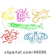 Royalty Free RF Clipart Illustration Of A Digital Collage Of Colorful Bugs
