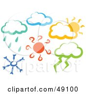 Royalty Free RF Clipart Illustration Of A Colorful Digital Collage Of Weather Scenes by Prawny