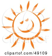 Royalty Free RF Clipart Illustration Of A Cheery Orange Sun Smiling