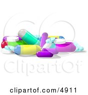 Assorted Medicine Tablets And Capsules Clipart