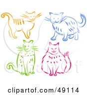 Royalty Free RF Clipart Illustration Of A Digital Collage Of Orange Blue Green And Pink Kitty Cats by Prawny