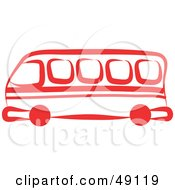 Royalty Free RF Clipart Illustration Of A Red Bus