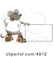 Mouse Standing Beside A Blank Sign Clipart