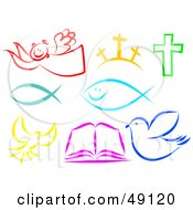 Royalty Free RF Clipart Illustration Of A Digital Collage Of Colorful Christian Items by Prawny