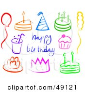 Royalty Free RF Clipart Illustration Of A Digital Collage Of Colorful Birthday Items by Prawny
