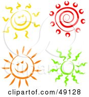 Royalty Free RF Clipart Illustration Of A Digital Collage Of Colorful Suns by Prawny