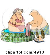 Obese Woman Getting Out Of A Swimming Pool With A Man Clipart