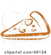 Royalty Free RF Clipart Illustration Of A Brown Pizza Slice