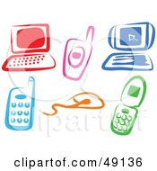 Royalty Free RF Clipart Illustration Of A Colorful Digital Collage Of Electronics Items by Prawny