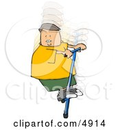 Boy Jumping Up And Down On A Pogo Stick Clipart
