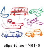 Royalty Free RF Clipart Illustration Of A Colorful Digital Collage Of Modes Of Transportation