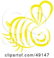Royalty Free RF Clipart Illustration Of A Yellow Honey Bee by Prawny