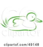 Royalty Free RF Clipart Illustration Of A Green Duck by Prawny