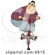 Adult Man Jumping On A Pogo Stick Clipart