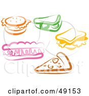 Royalty Free RF Clipart Illustration Of A Digital Collage Of Colorful Foods by Prawny