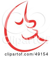 Royalty Free RF Clipart Illustration Of A Red Crescent Moon by Prawny
