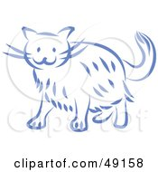 Royalty Free RF Clipart Illustration Of A Blue Kitty Cat by Prawny