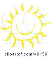 Royalty Free RF Clipart Illustration Of A Cheery Yellow Sun Shining