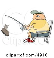 Fisherman Catching A Boot With A Fishing Pole Clipart