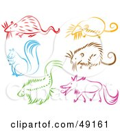 Royalty Free RF Clipart Illustration Of A Digital Collage Of A Rat Mole Squirrel Mouse Skunk And Wolf by Prawny
