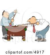 Two Men Playing A Game Of Pool In Their Business Suits Clipart