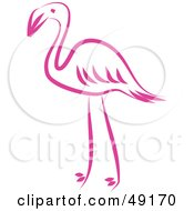 Royalty Free RF Clipart Illustration Of A Pink Flamingo by Prawny